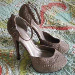 Tall platform gray sparkly heels